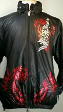 Men's Ed Hardy Christian Audigier Hooded Windbreaker Jacket Size L 90's fashion