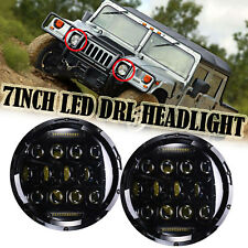 For Hummer H1 H2 2002-2009 7''inch H6024 LED DRL High&Low Beam Headlight 2Pcs