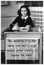 """13""""×19"""" Inspirational Poster: Historic ANNE FRANK Quote. Improve the World HOPE"""