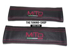 "2x Seat Belt Covers Pads Black Leather ""MiTo"" Red Embroidery for Alfa Romeo"