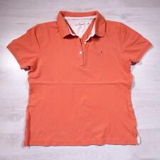 Ladies TOMMY HILFIGER Orange Vintage Designer Polo Shirt T-Shirt Large #F2414