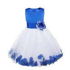 Petals Flower Girl Dress Bow Knot Bridesmaid Wedding Formal Party Princess Dress