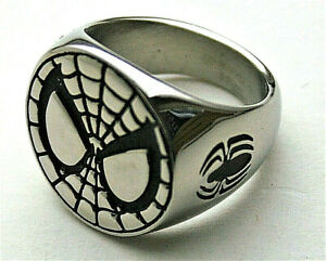 Marvel Comics Spider-Man Logo Stainless Steel & Enamel Ring New NOS Box sz 8