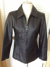 Womens Jacqueline Ferrar Black Leather Fitted Coat Jacket Sz S Zip Front Hipster