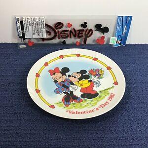 "Disney Valentines Day 1980 Decor Plate Schmid 7.5"" LN + NIP Embroidered Stickers"