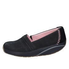 scarpe donna MBT 37 EU slip on mocassini nero camoscio nabuk BY973-37
