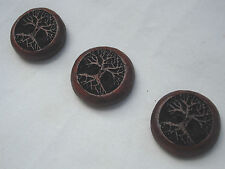 Handcrafted Paduk Timber, Tree Design Button, Item 278