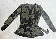 CLASSIC OASIS GREEN AND BLACK FLORAL WRAP TUNIC TOP BLOUSE WITH TIE CLASP SIZE S