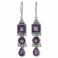 Amethyst Crystal Sapphire Art Deco Style 925 Silver Hook Earrings Women Jewelry