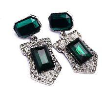 Zara Beau Vert Émeraude Pierres boucles d'oreilles pendantes vintage deco Look