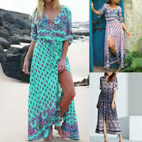 Boho Women's V Neck 3/4 Sleeve Ethnic Beach Retro Floral Long Maxi Dress S-5XL