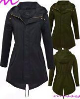 NEW Women's CANVAS COTTON MAC Ladies TRENCH JACKET COAT Khaki Size 8 10 12 14 16