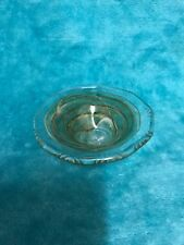 Alum Bay Clear With Green And Brown Swirl Hand Bowl/pin Dish