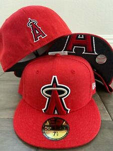 New Era Cap 59FIFTY Anaheim Angels RED XXL LOGO FLIPPED Hat Fitted 5950 MLB