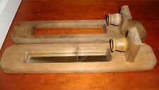 Vintage Handcrafted Wood Candle Holder Wall Sconce Pair Set