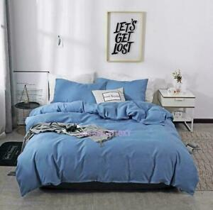 Pure Color Bedding Set Cotton Duvet Cover Pillowslip Twin/Queen/Set New Three Pc