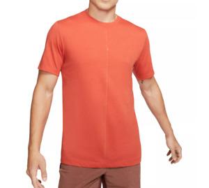 Nike Training Tee Mens New Dri FIT Tri-Blend Yoga Align Short Sleeve Rust Orange