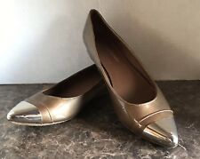 Donald J Pliner Noelle Shoes Bronze Metalli Patent Leather Ballet Flats Sz 8.5 M