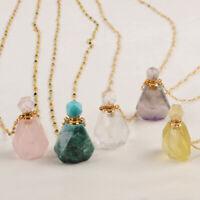 "26"" Essential Oil Amethyst Rose Quartz Gemstone Perfume Bottle Necklace 2mm Bead"