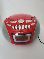 Vintage Sony Boombox CFD-E75 CD Radio Cassette Tape Recorder Red
