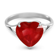 Platinum Plated 925 Sterling Silver Ring w/ Natural 10.0 mm Heart Ruby