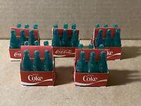 Vintage 1975 Collectors Club Lot of 5 Green Coca Cola Cardboard Carton Bottles