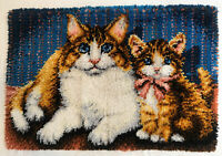 Completed Brown Cat Latch Hook Rug