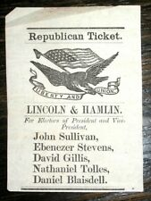 1860 ABRAHAM LINCOLN Presidential REPUBLICAN TICKET Vote ELECTION Civil War NH