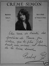 PUBLICITÉ 1922 CRÈME SIMON PAULINE PÔ REINE DE BEAUTÉ - ADVERTISING