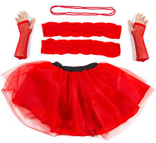 Red Neon UV Tutu Set Skirt Gloves Leg Warmers Necklace Womens 80s Fancy Dress