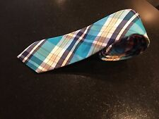 ROOSTER 57L Turquoise Blue Yellow Navy White Plaid Cotton Mens Neck Tie