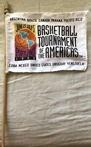 1992 Basketball Tournament of the Americas USA Dream Team mini flag & metal pin