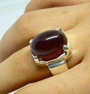 Mens Agate Ring Handmade Agate Ring Yemeni Aqeeq Ring Sterling Silver 925 Rings