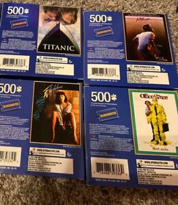 Lot Of 4 Blockbuster 500 Piece Puzzles Titanic Footloose Office Space Flashdance