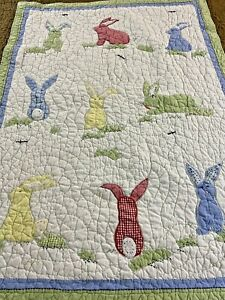 Adorable Vintage Hand Crafted & Quilted Bunny Quilt Pottery Barn 35x48 Crib #516