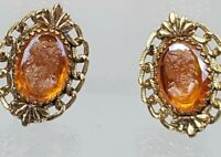 Vintage Whiting & Davis Clip On Goldtone Amber Glass Cameo Earrings