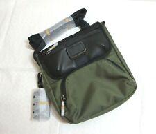 NWT- Tumi Barton Small Crossbody Bag Black Leather Trim~ Tundra Green ~Authentic