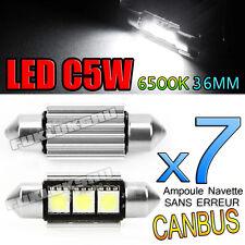 7 AMPOULES NAVETTE LED C5W 36mm 6500k ANTI SANS ERREUR CANBUS PLAFONNIER PLAQUE