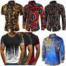 Men Long Sleeve Tee Floral Casual Shirt Stylish Slim Fit Luxury Dress Shirts Top
