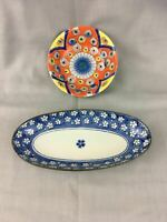 Vintage Japanese Pair of Decorative Hand Painted Serving Plates