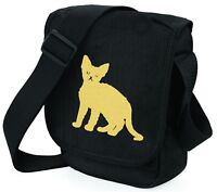 Devon Rex Cat Shoulder Bags Metallic Gold / Silver on Black Bag Mothers Day Gift