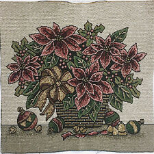 """Tapestry Panel Home Decor Christmas Basket Of Red Poinsettias 13"""" x 13"""" New"""