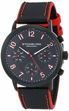 "Stuhrling 668 01 Mens ""Monaco"" Stainless Steel Black and Red Leather Band Watch"
