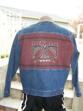 PENDLETON Mens Western Wear JEAN JACKET Aztec THUNDERBIRD Denim & Wool LARGE