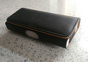 Universal Leather (Black) Mobile Phone Case/Pouch with Belt Clip - Large