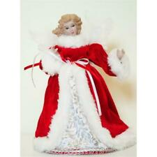 "Season Designs 8"" Red Angel with Faux Fur Trim Christmas Tree Topper"