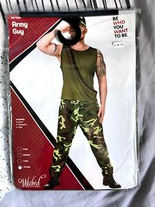 Army Guy Soldier Military Sergeant Marine Adults Mens Fancy Dress Costume Outfit