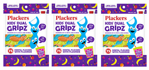 Plackers Kids Dual Gripz Dental Flossers, Fruit Smoothie Swirl, 75 Ct (3 Pack)