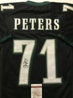 Autographed/Signed JASON PETERS Philadelphia Black Football Jersey JSA COA Auto