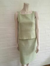 MOST WANTED Chanel 00S 2000 Tweed Green 2-piece Top Skirt suit F 36 UK 8 US 4 S